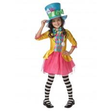 Mad Hatter Alice In Wonderland Girls Long Hanging Deluxe Child Costume