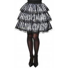 Striped Black & White Ruffle Adult Skirt Witches