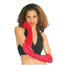 Long Velvet Gloves - Red 1920s - Accessory