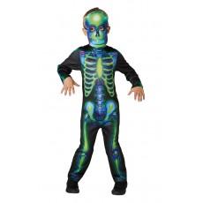 Neon Skeleton Halloween Glow In The Dark Child Costume