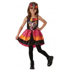 Sugar Skull Day Of The Dead Halloween Girl Child Costume