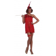 Sexy Ruby Red Dazzle Flapper 1920s Adult Costume