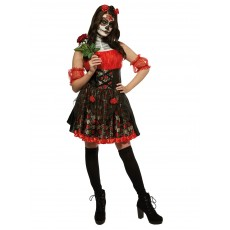 Red Rose Day Of The Dead Halloween Adult Costume