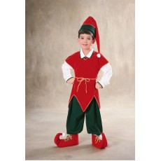 Elf Christmas Velvet Child Costume
